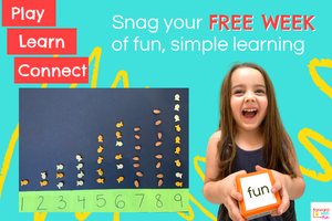 Snag your free week of fun, simple learning. Girl holding a foam die with the word fun on it. Snacks lined up by number above post its with that number.