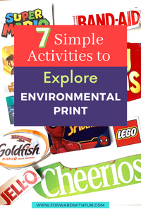"""Environmental print collage with large lettering on top that says """"7 simple activities to explore environmental print"""""""