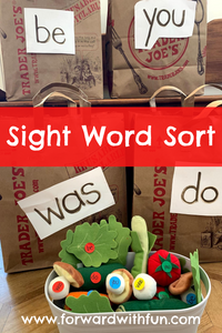 Matching words on food to grocery bag.
