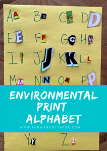 A completed collage showing a written alphabet and matching letters cut out from magazines and boxes glued next to them