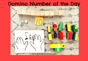 collection of items in the quantity of 10, fingers, blocks, domino, legos, trains