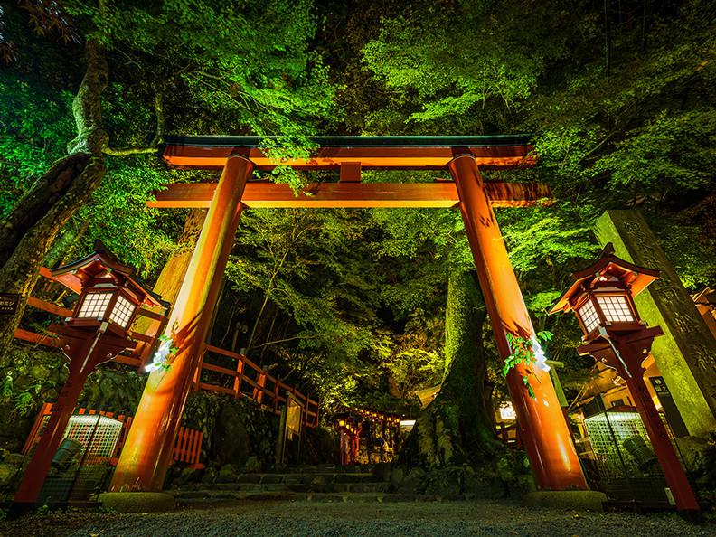 Torii gate at the Kifune shrine, Mt Kurama