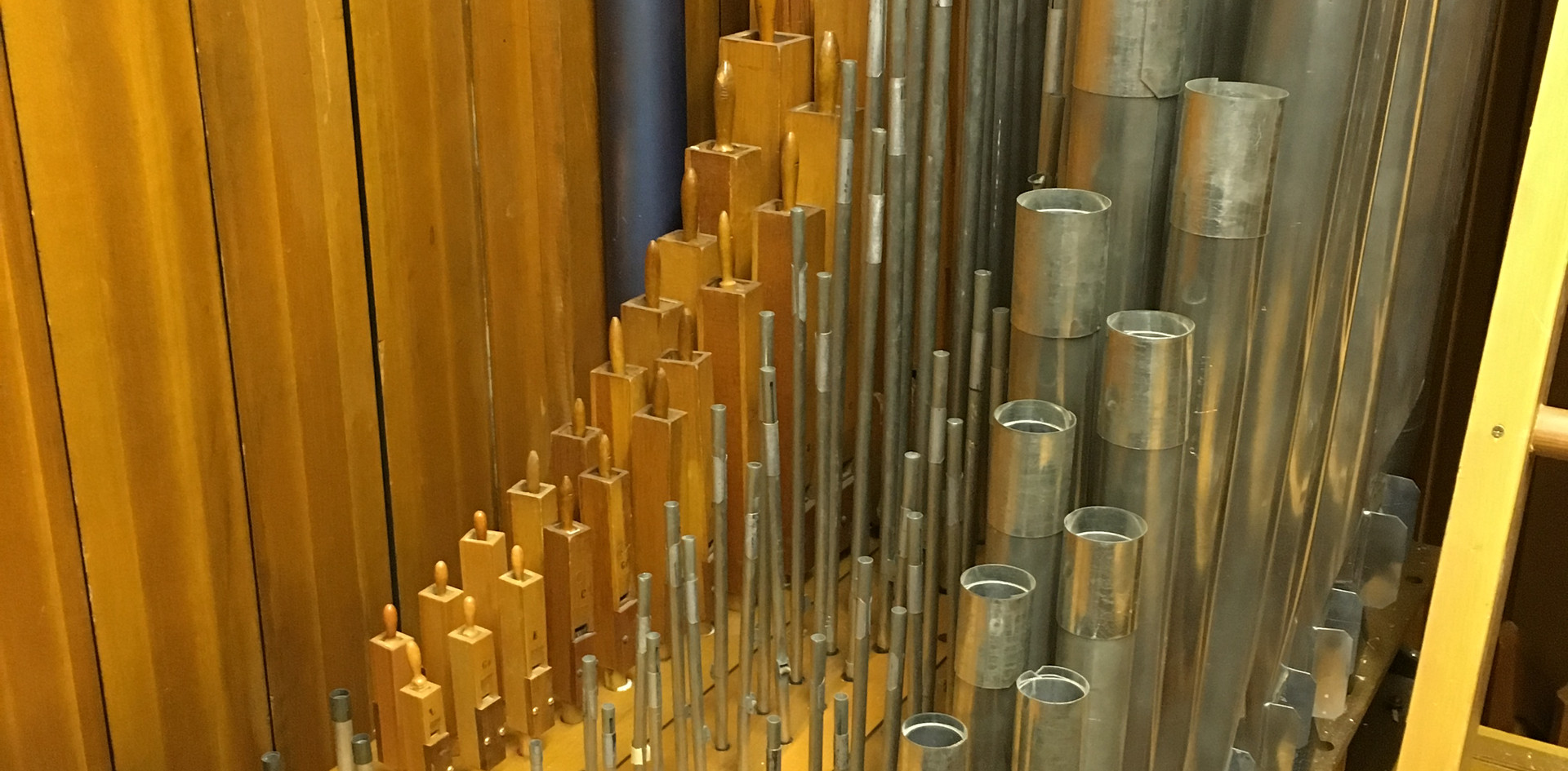 Main Chamber:  (L-R): Lieblich Flute, Viol d' Orchestra, Viol d' Orchestra Celeste, Diaphonic Diapason