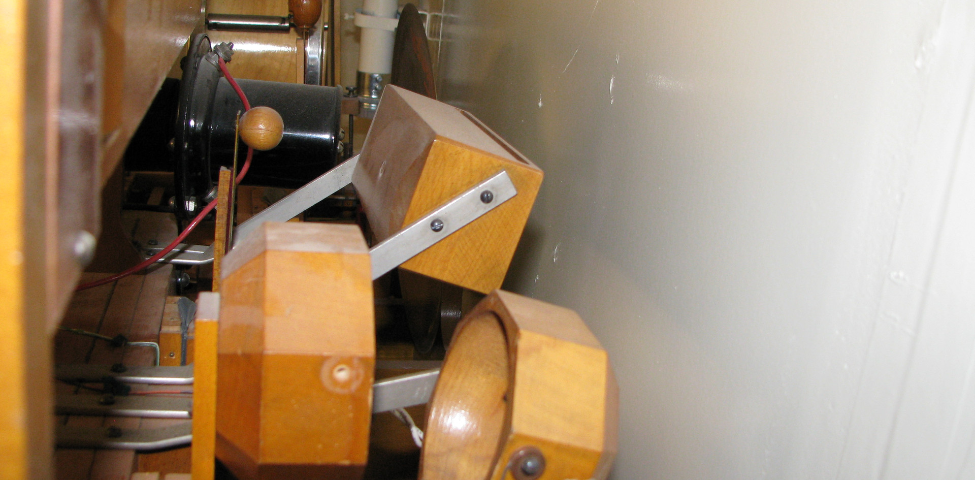 Percussion Chamber:  Toy Counter: (Front to back): Horse Hooves, Chinese Block