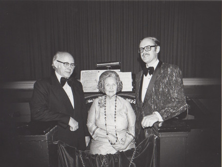 (Left to Right) Lloyd Collins, Hildegarde Kraus, and Lance Johnson in front of the 2-manual console.