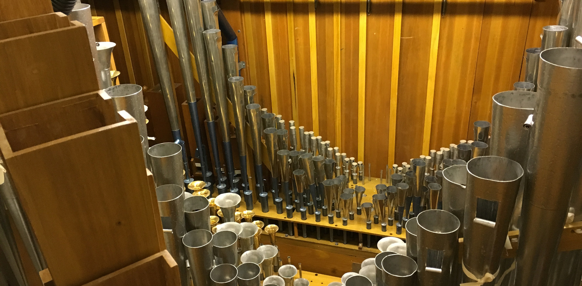 View into the Solo Chamber. The wood bass pipes (far left) belong to the Tuba Mirabilis.