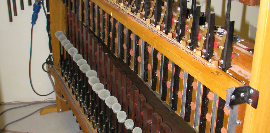 Percussion Chamber:  (Back to Front): Cathedral Chimes, Marimba