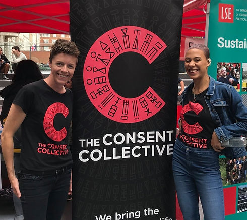 This is a photo of some of The Consent Collective team at an event on the LSE campus