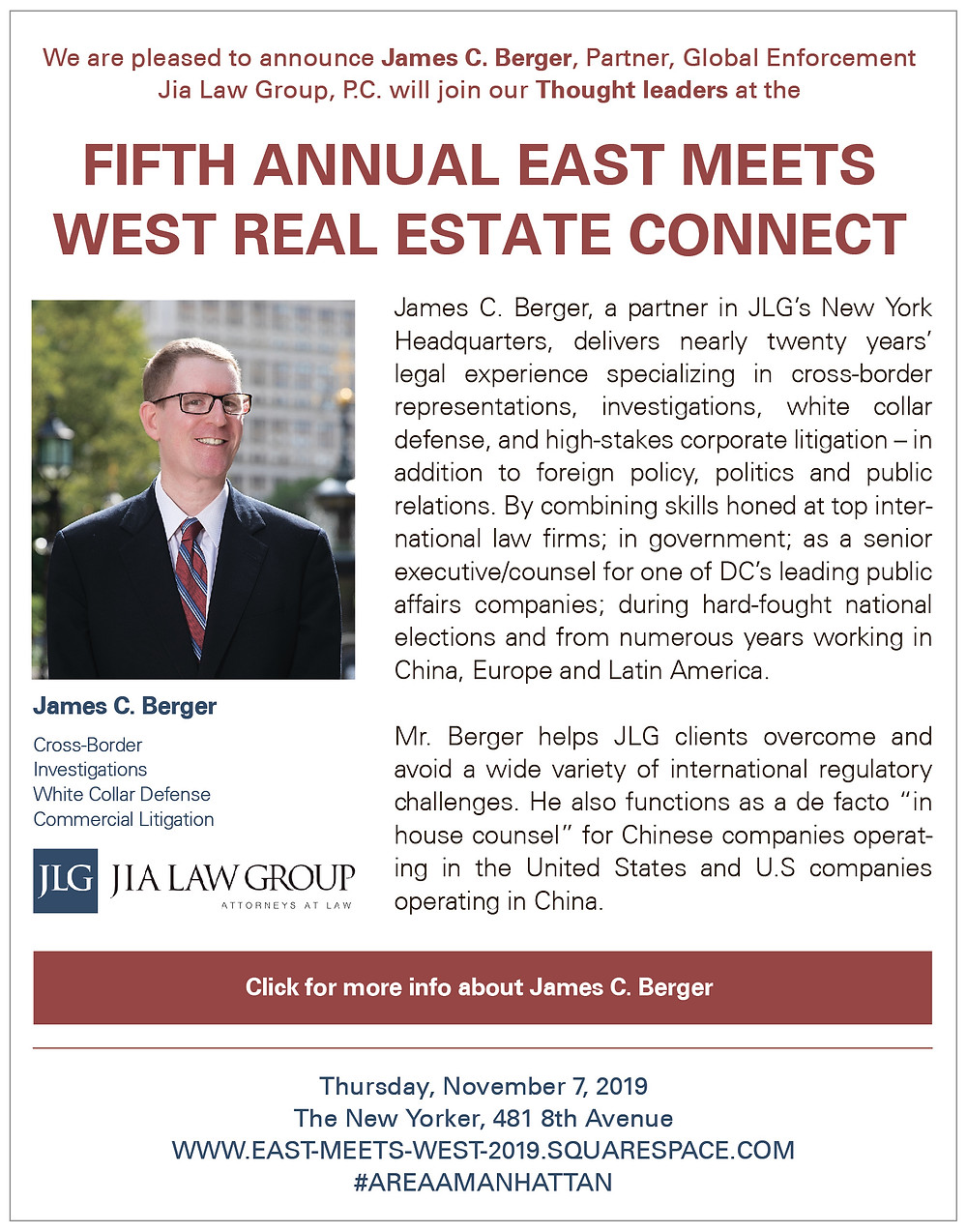 James Berger--Featured Speaker-#AREAAMANHATTAN