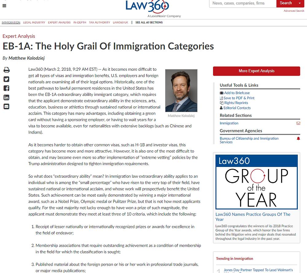 law360 website screenshot-Matthew Kolodziej-EB1-Expert Analysis