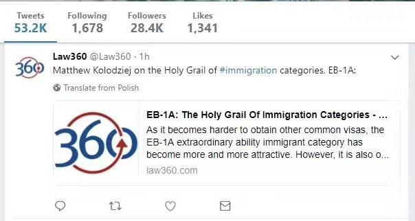 law360 twitter screenshot-Matthew Kolodziej-EB1-Expert Analysis