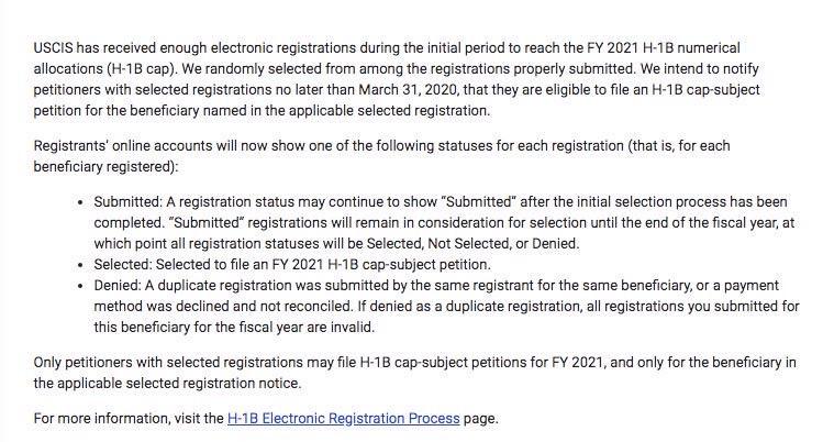 2020 H1B 首轮抽签完成