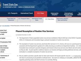 更新:美国国务院分阶段恢复驻华使领馆常规签证服务