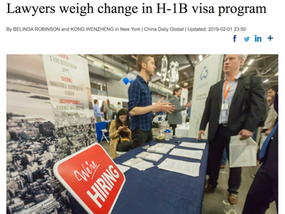 Matthew in ChinaDaily: Lawyers weigh change in H-1B visa program