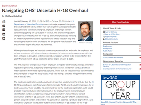 LAW360 Published Matthew Kolodziej's Analysis on Navigating DHS' Uncertain H-1B Overhaul