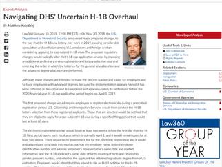 LAW360 Published Matthew Kolodziej's Analysis on Navigating DHS' Uncertain H-1B Overhaul
