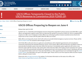 移民局最早将于6月4日对外开放,部分已取消预约将自动重排