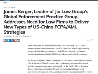 James Berger, Global Enforcement Partner, Addresses Need to Deliver New US-China FCPA/AML strategies