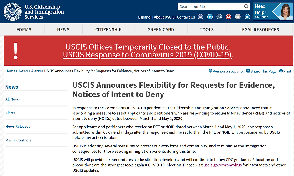 USCIS Announcement