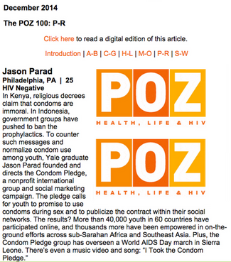Founder Jason Parad named to POZ Magazine's Top 100 Youth Leaders