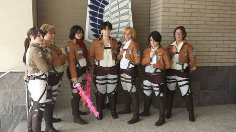 "The full cast of our ""Rules"" presentation for Opening Ceremonies. Left>Right, Alycia (CAMYCosplay) as Sasha, Niki (Maoinabox) as Jean, myself as Mikasa, Mandy (Nutcracker) as Eren, Rynn (RynnCosplay) as Armin, Kayla (BATCosplay) as Levi, and Tanya as Hanji."