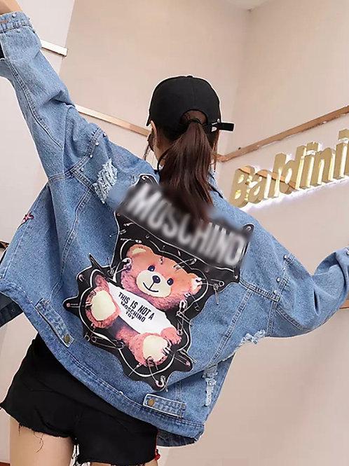Teddy Bear Blue Jean Jacket