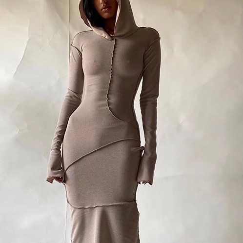 """Candice"" long sleeve hooded maxi dress"