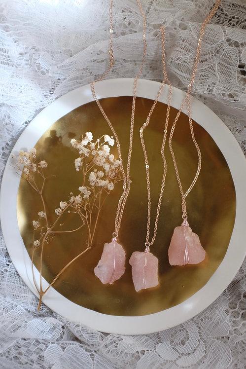 Rose Gold Goddess Necklace - Rose Quartz