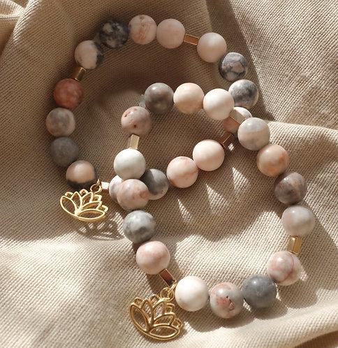 pink zebra jasper beaded bracelet