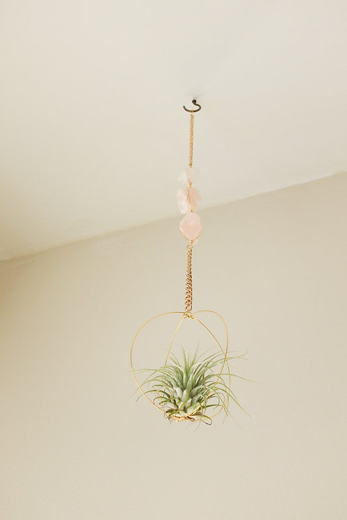 rose quartz air plant hanger
