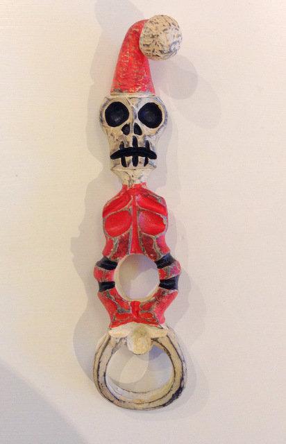 Painted Skeleton Santa Bottle Opener