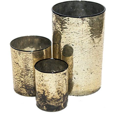 Gold Textured Cylinder Candle Holders