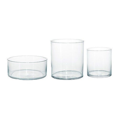 Set of 3 Glass Cylinder Vases