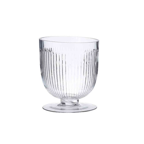 Ribbed Footed Glass Vase