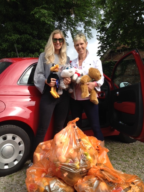 Trisha and Sam brought teddies from Essex