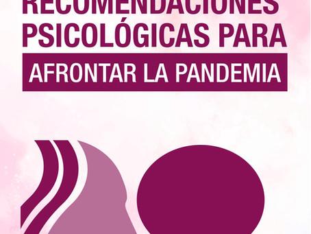 Recomendaciones Psicológicas para afrontar la pandemia