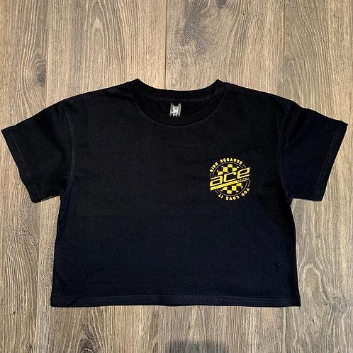 Youth/Ladies Crop Top -  Coloured Circle Logo - Metallic Gold