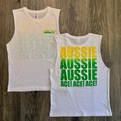 Youth Muscle Tee - Aussie Aussie Aussie - White