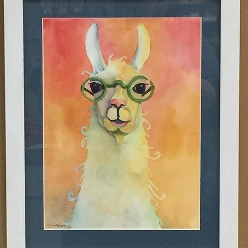 Hipster Llama Framed