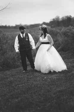 fall wedding black and white