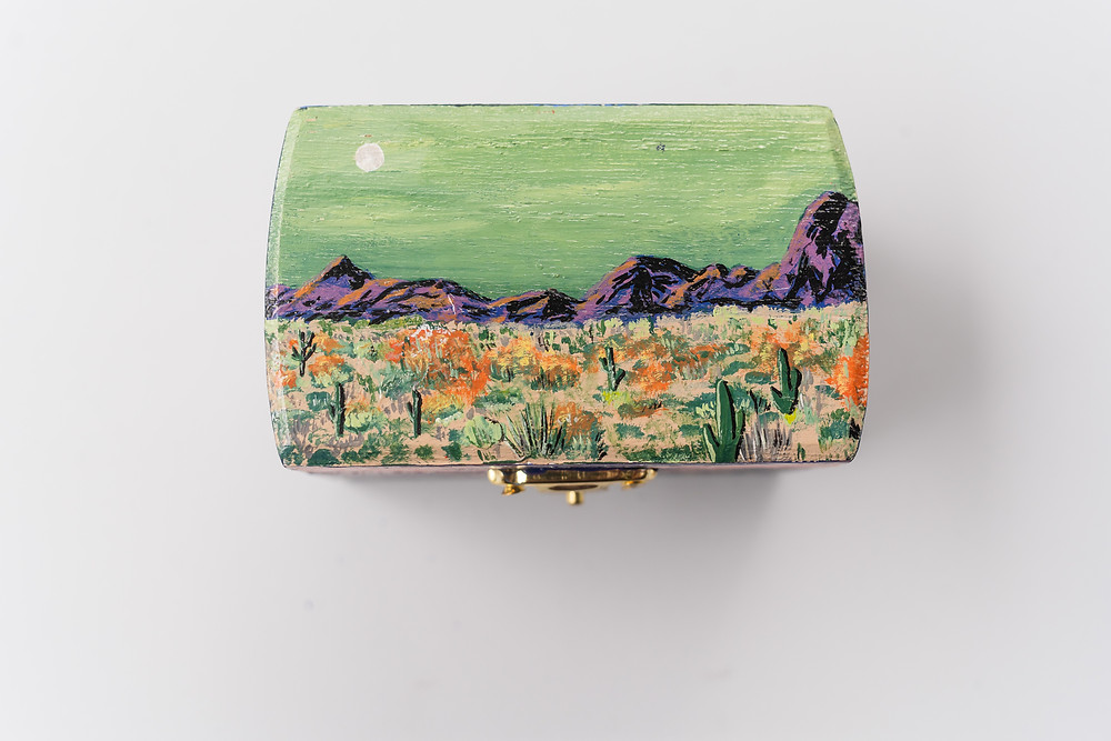 Hand painted ring box with desert scenery