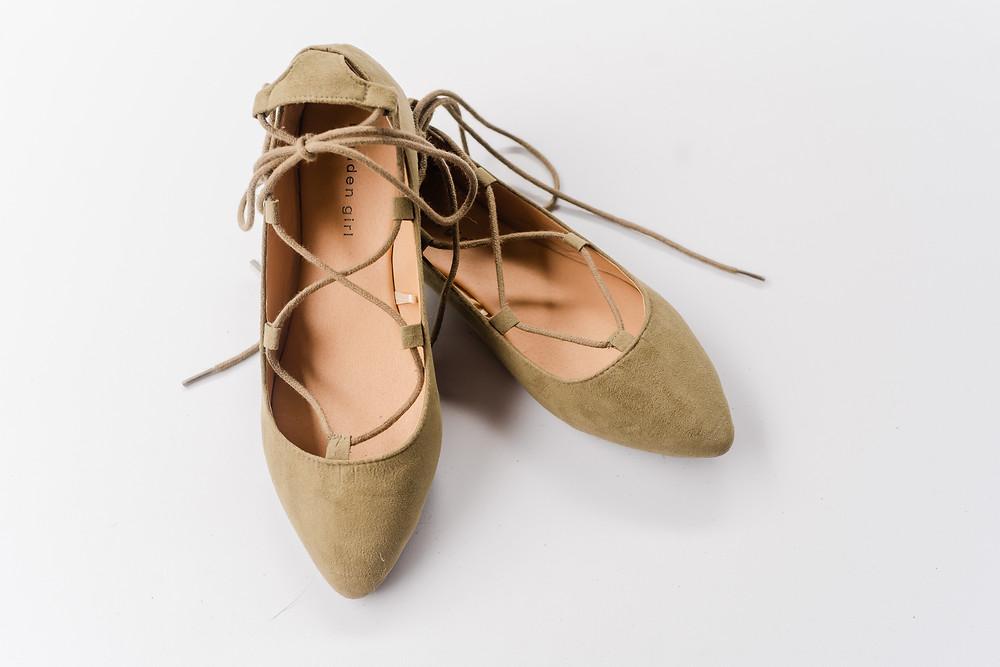 Green ballet lace up flats