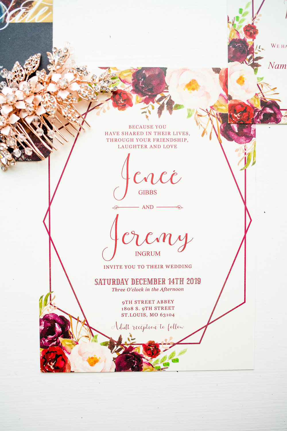 Wedding invitation with flowers on it