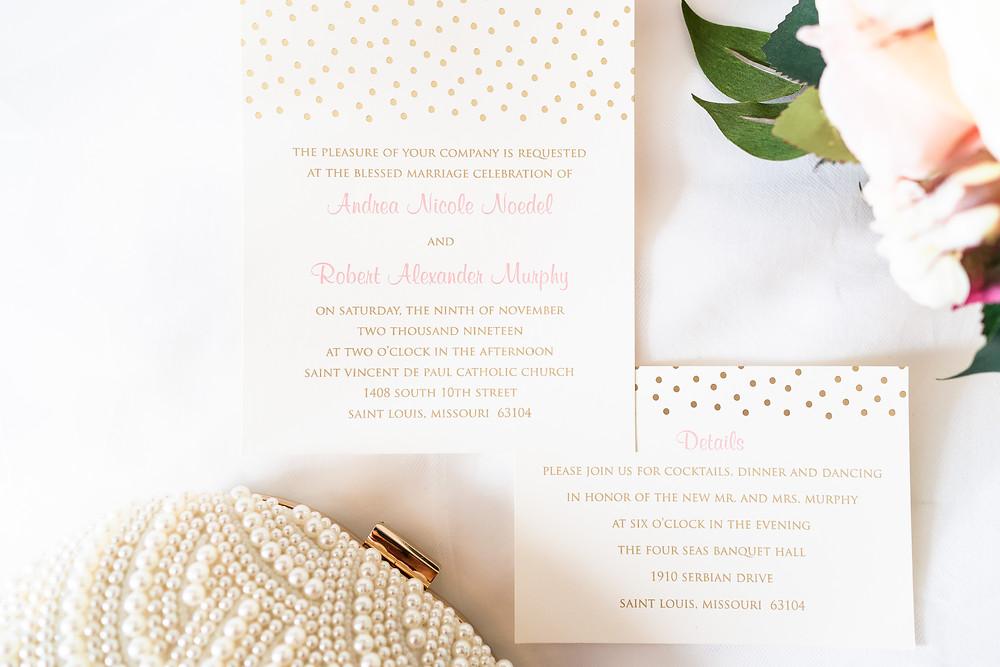 White wedding invitation suite