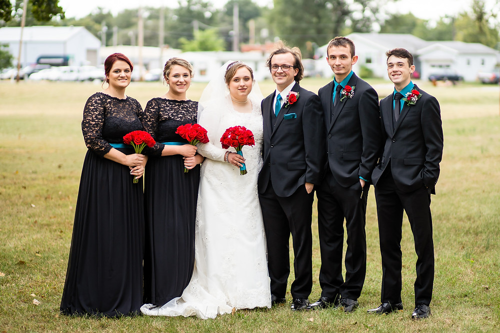 Wedding party in a line