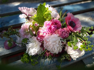 Pinks Whites and Raspberry Peony
