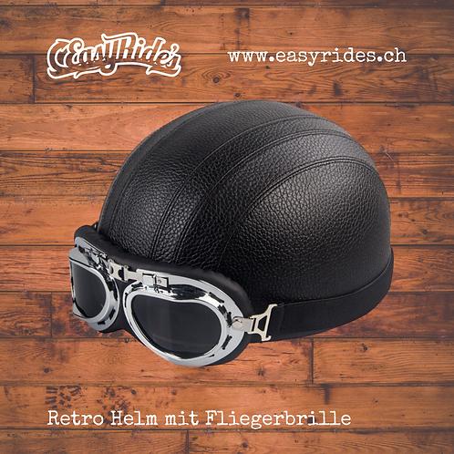 Retro Helm mit Fliegerbrille