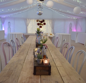 Rustic marquee dining