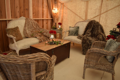 Barn marquee chill out area