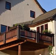 deck, wood, railing